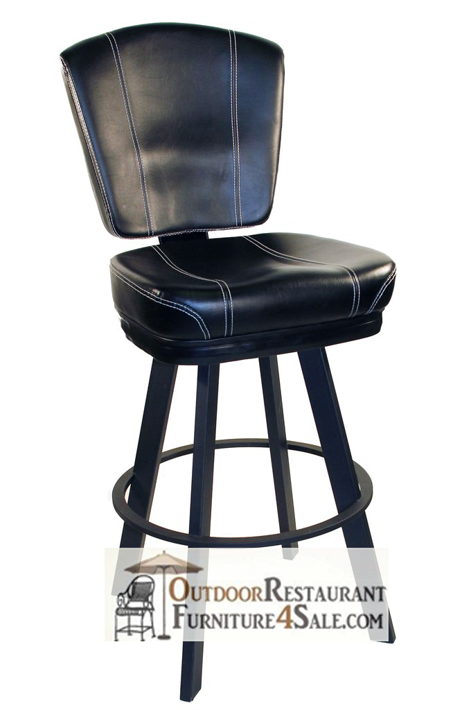 GLADIATOR Black With White Stitch 825 Bucket Seat Bar Stool On Large Black  Base Great Ideas