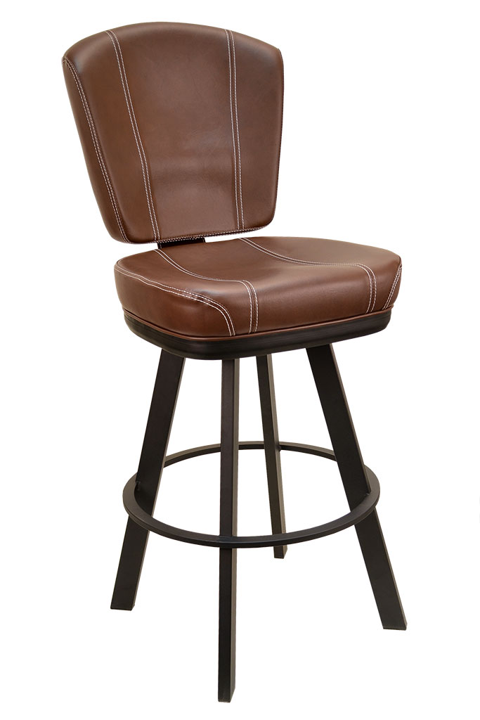 GLADIATOR Contemporary Brown With White Stitch Restaurant Bucket Seat Bar  Stool   Large Black Base