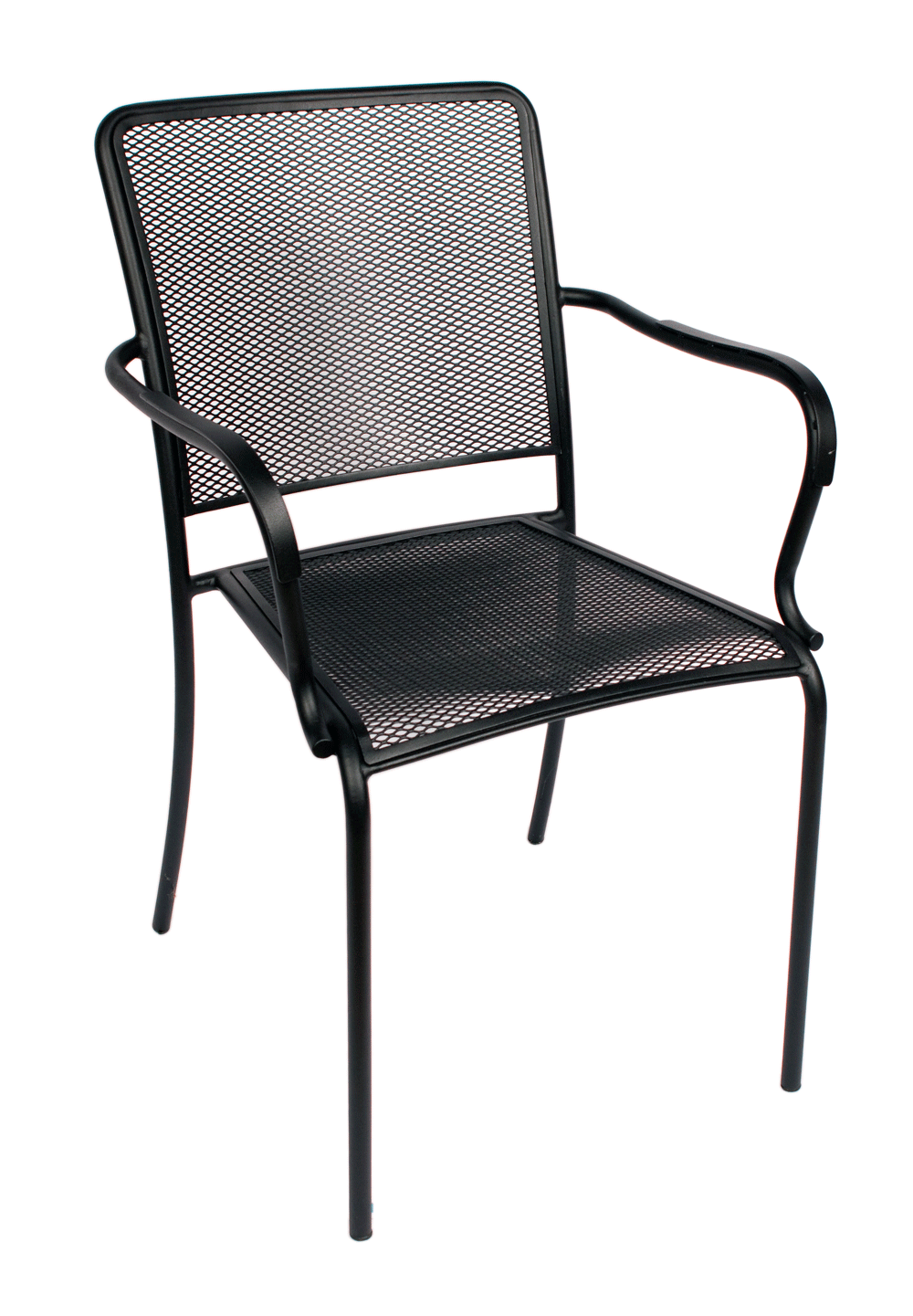 Indoor/Outdoor Galvanized Steel Micro Mesh Seat And Back Stacking Chair W/  Arms (Chesapeake)