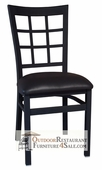 MONEY SAVING Commercial Window Pane Back Metal Chair with Black or Wine Vinyl Seat (Quick Ship)