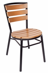 Norden Outdoor Aluminum Stacking Side Chair w/ Black Frame, Synthetic Teak Seat and Back