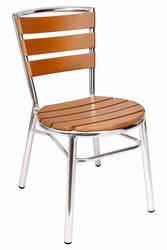 Norden Outdoor Aluminum Stacking Side Chair w/ Synthetic Teak Seat and Back