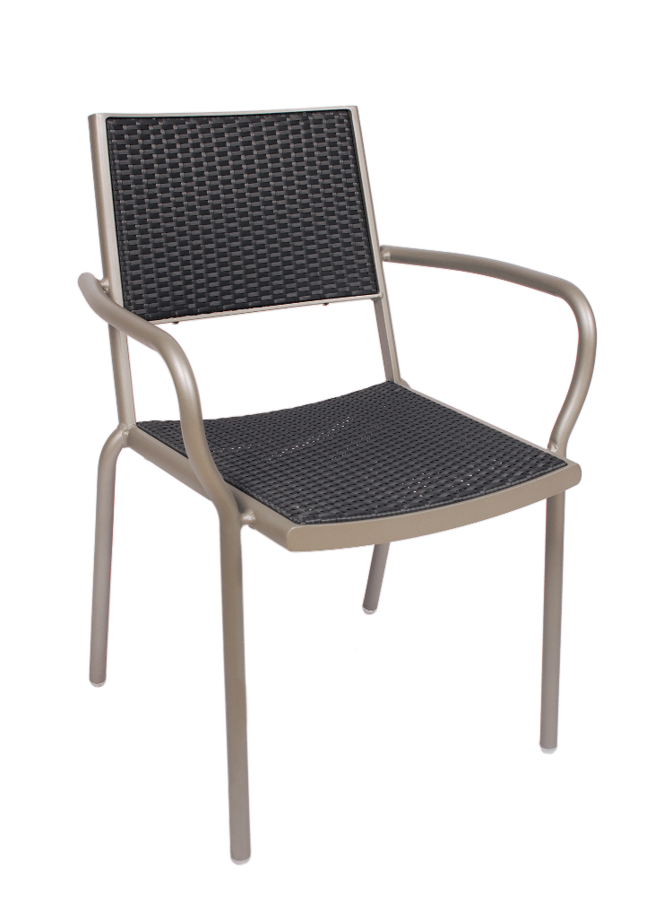 Outdoor Aluminum Frame Synthetic Wicker Arm Chair Cocoa