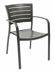 Outdoor Aluminum Riviera Restaurant Chair w/ Arms
