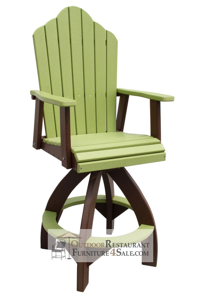 outer banks adirondack crown fanback poly lumber swivel bar stool 3g