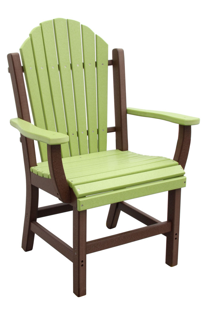 Outer Banks Adirondack Fanback Poly Lumber Dining Chair with Arms