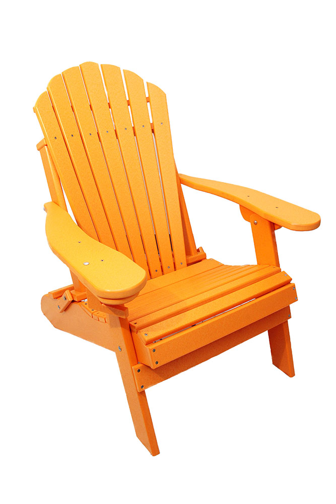 Outer Banks Deluxe Oversized Poly Lumber Folding Adirondack Chair With Cup  Holder