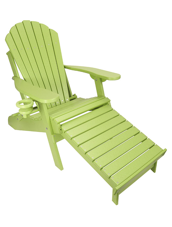 Amazing Outer Banks Poly Lumber Folding Adirondack Chair With Integrated Footrest