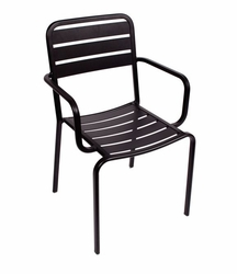 Stacking Aluminum Arm Chair In Black