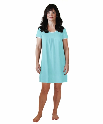 PLEATED FRONT SHORT SLEEVE NIGHTIE