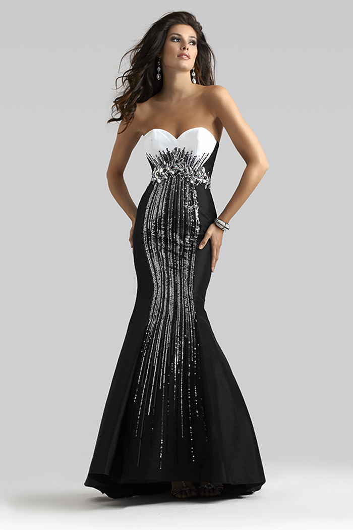 Clarisse 2014 Black and White Long Taffeta Mermaid Prom ...