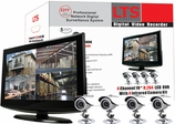 "4 Camera CCTV System w/ 19"" LCD Monitor, Built-in DVR, Network and Cell Phone Access, 320GB HDD, Night Vision Weather-proof Cameras"