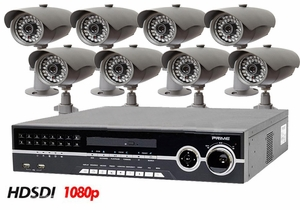 HD-SDI-8IR 8 Camera Full High Definition Recording 1080p CCTV SDI System with Nightvision Outdoor Bullet Cams
