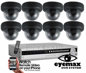 Pro-Series 8 Camera CCTV System with Eyemax DVR Dome Night vision - Customize It