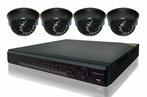 ProPlus Series PRO4PDIR 4 Camera CCTV System with Dome Night-Vision Infrared Cameras and 8Ch DVR