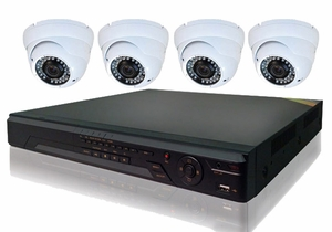 ProPlus Series PRO4PTIR 4 Camera CCTV System with Turret Type Sony Effio-E Night-Vision Infrared Cameras, Weather and Vandal Proof and 8Ch DVR