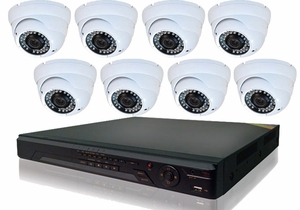 ProPlus Series PRO8PTIR 8 Camera CCTV System with Eyeball Type Night-Vision Infrared Cameras, Weather and Vandal Proof