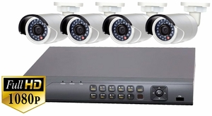 ProTVI Series, Full High Definition 1080p 4 Camera CCTV System with 2 Megapixel Mini Bullet Cameras