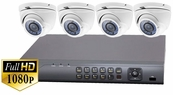 ProTVI Series, Full High Definition 1080p 4 Camera CCTV System with 2 Megapixel Mini Turret Cameras
