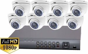 ProTVI Series, Full High Definition 1080p 8 Camera CCTV System with 2 Megapixel Mini Turret Cameras