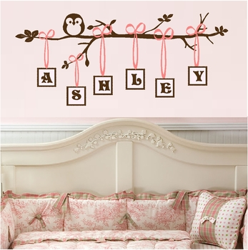 Monogram Branch Decal Nursery Wall Quote