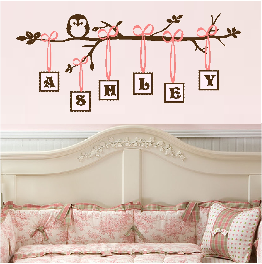 Wall stickers baby girl nursery home design monogram branch decal nursery wall quote amipublicfo Images