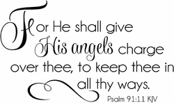 For He Shall Give His Angels Charge Over Thee Nursery Wall Quote