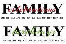 Family Birthdays/Celebrations Decal
