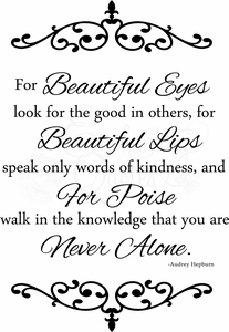 Beautiful Eyes Wall Quotes Decal