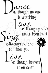 Dance Love Sing Live Vinyl Wall Decals