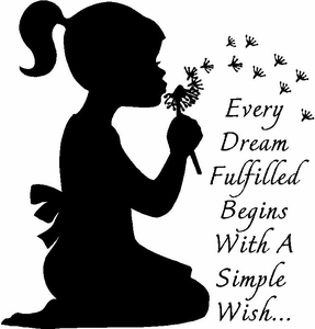 Girl Blowing Dandelions Vinyl Wall Decals