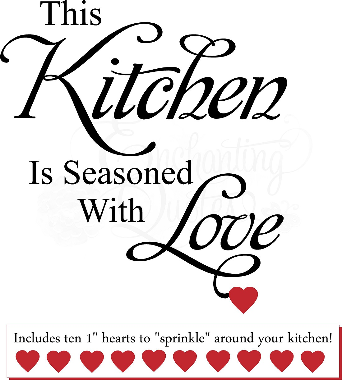 Kitchen decals kitchen wall quotes seasoned with love for Kitchen quotation