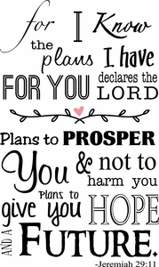 Hope and a Future Christian Wall Quotes