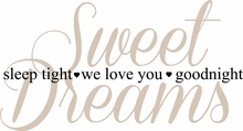 Sweet Dreams, Sleep Tight Nursery Wall Quote