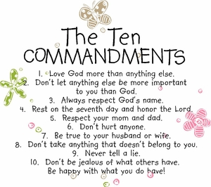 Ten Commandments for Kids Christian Wall Quotes