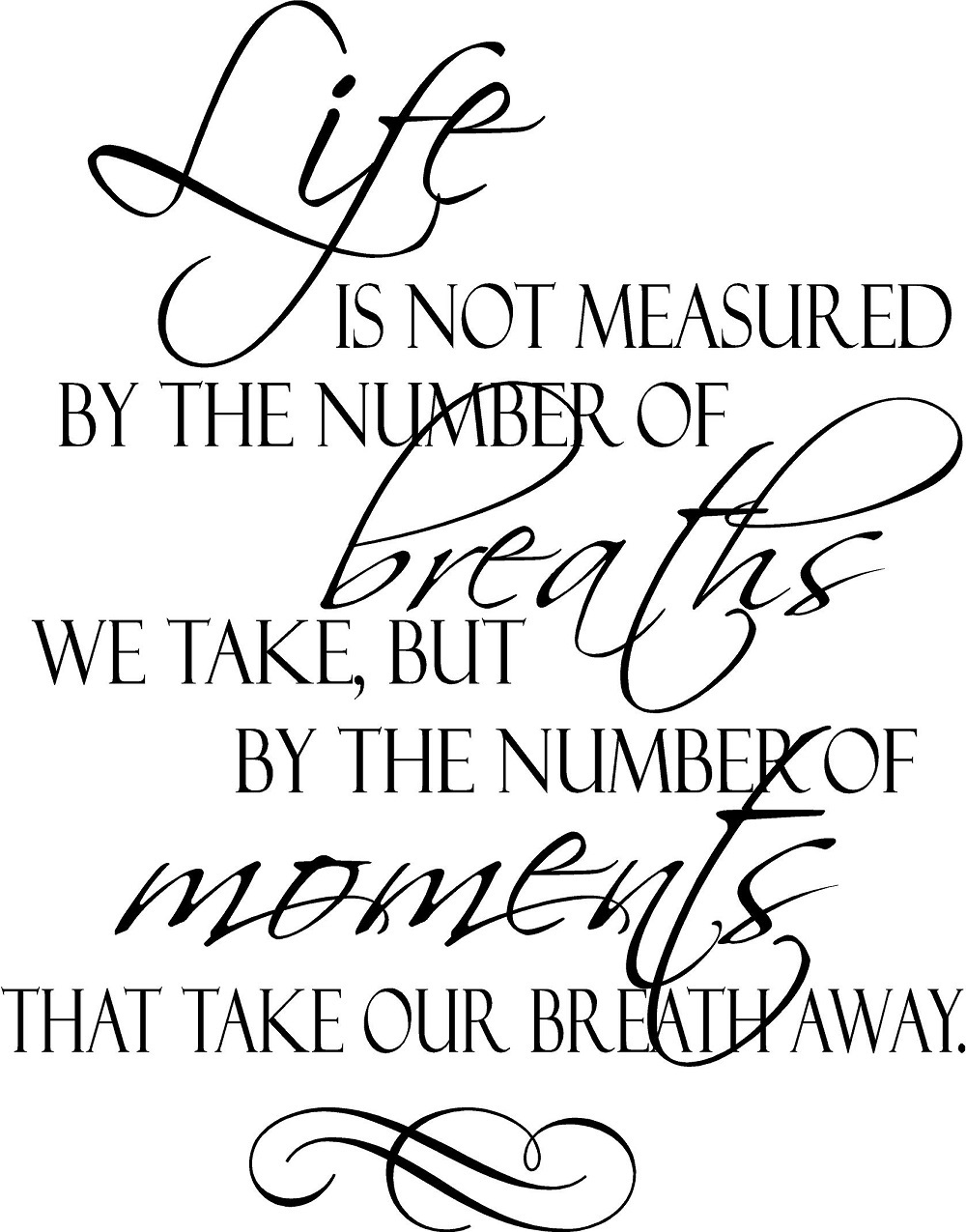 Life Is Not Measured Quote Life Is Not Measuredthe Moments Breath Away Vinyl Quote
