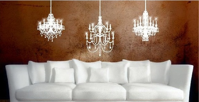 Vinyl wall art chandelier wall decals wall quotes stickers 3 chandeliers aloadofball Gallery