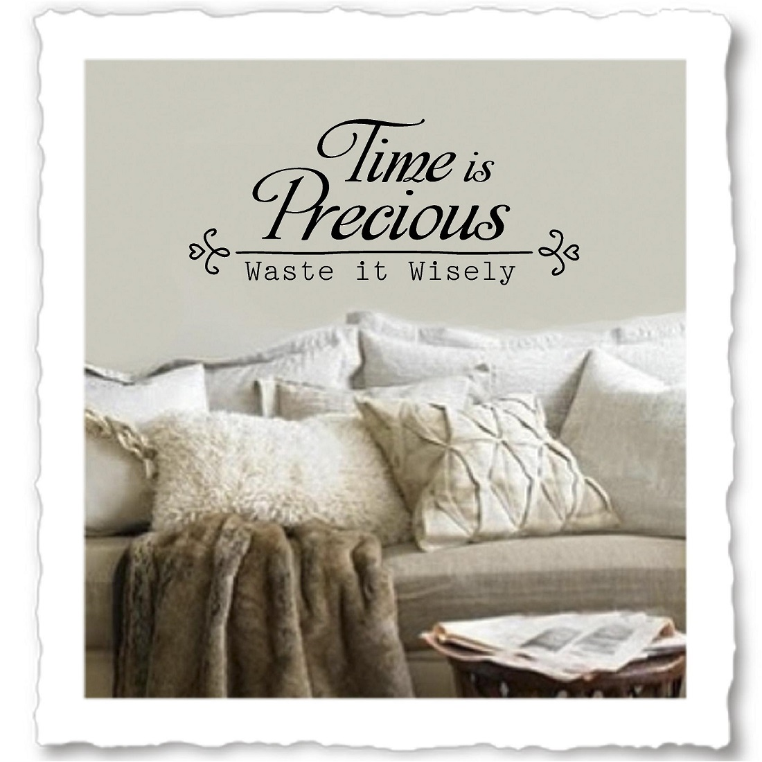 Family quotes vinyl wall decals time is precious waste it wisely family quote time is precious amipublicfo Choice Image