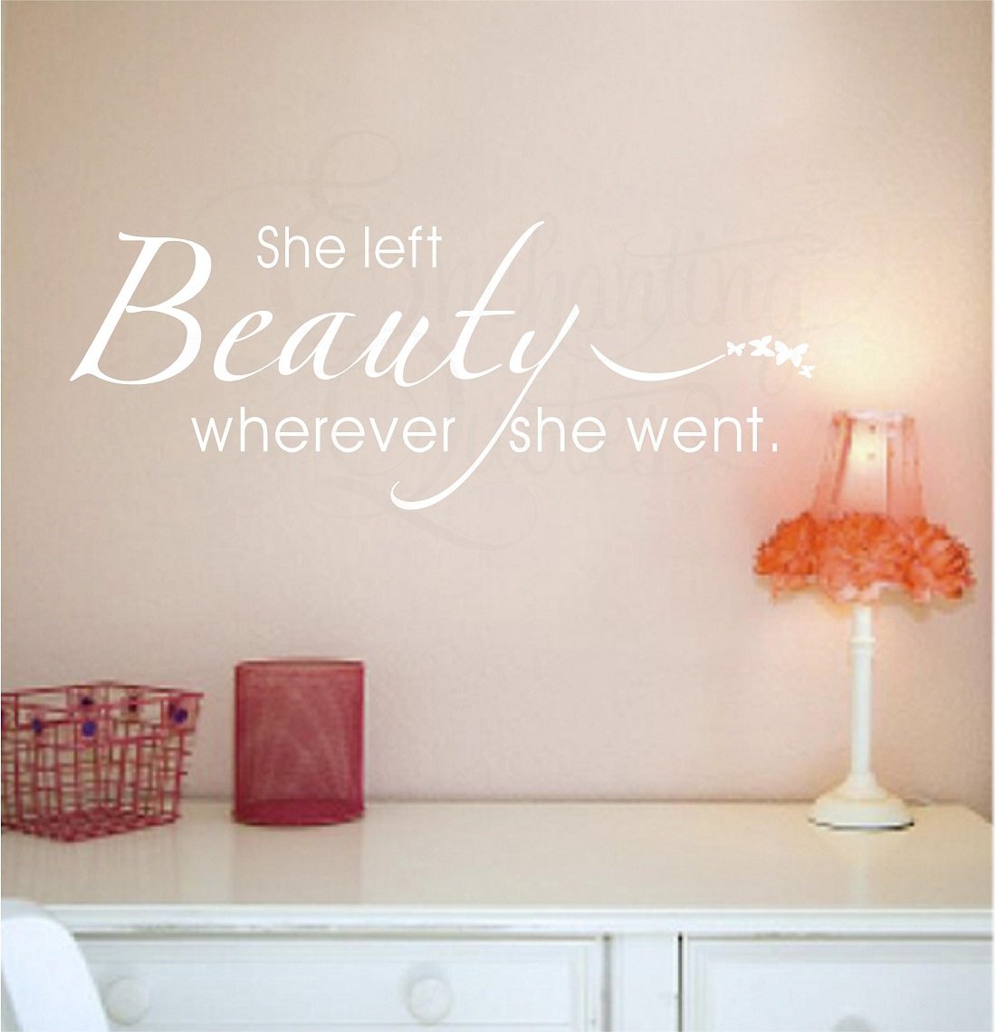 Vinyl Laundry Room Sayings She Left Beauty Wherever She Went Vinyl Wall Saying Quotes