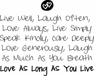 Live Well Laugh Often Vinyl Wall Decals