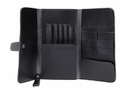 Hair cutting tools black leather pouch