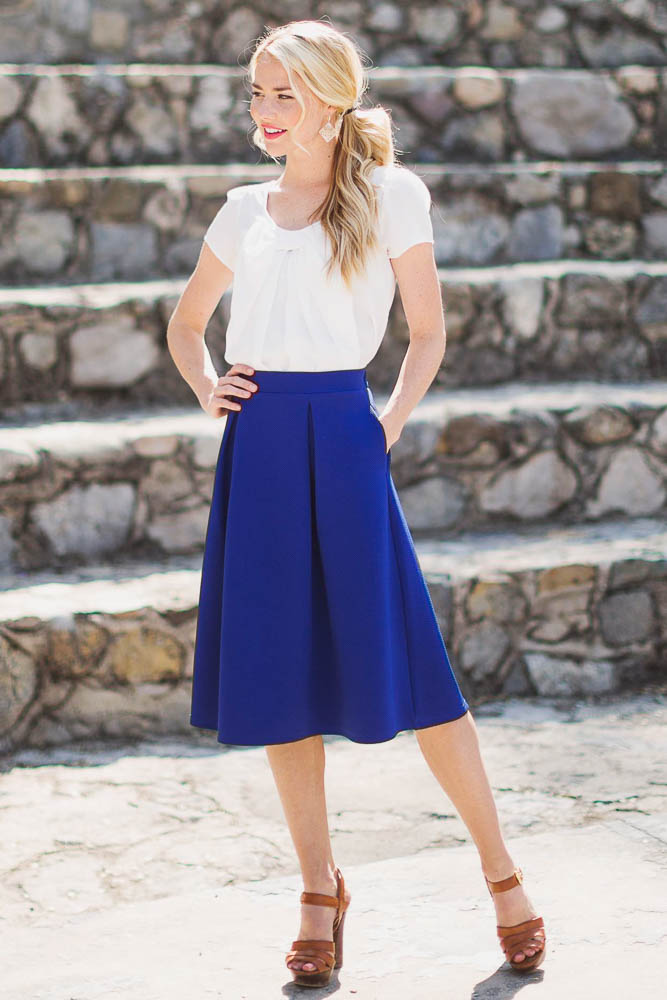Blue A Line Skirt - Dress Ala