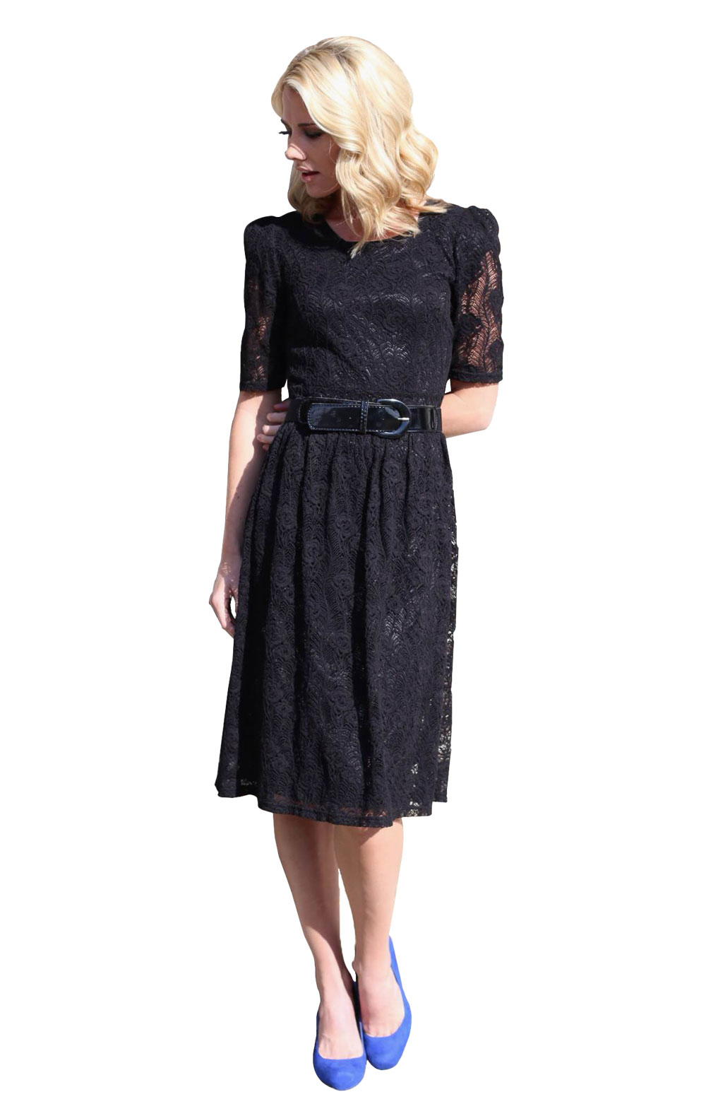 Abby Lace Modest Dress In Black