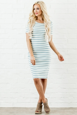 Ada Modest Dress in Dusty Blue & Cream Stripes