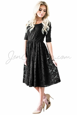 """""""Addison"""" Modest Dress in Black Lace"""