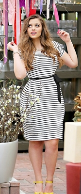 """Alexis"" Modest Dress in Black & White Stripes *Final Sale*"