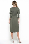 Amy Modest Midi Dress with 3/4 Sleeves in Olive Green, Tzniut