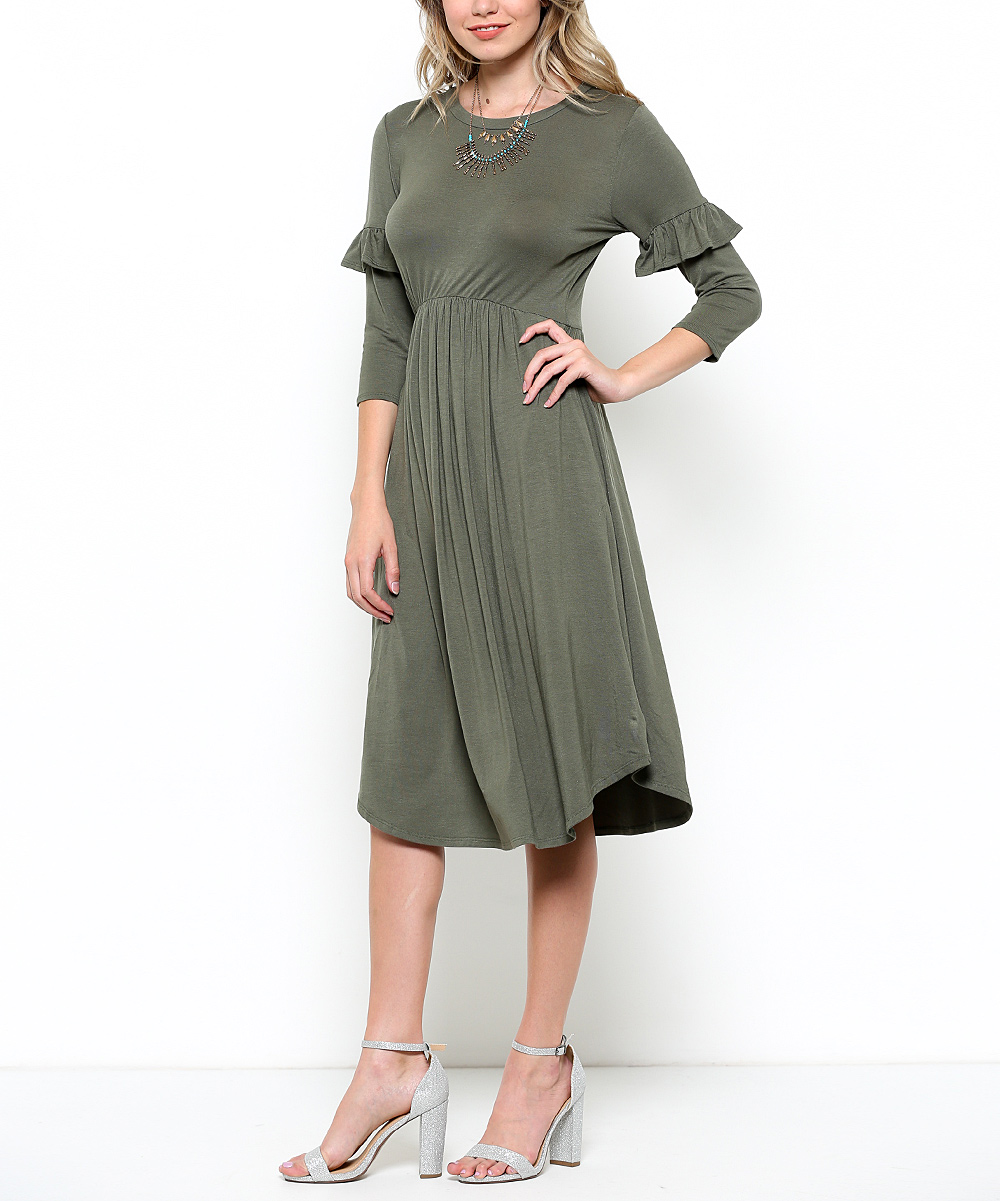 Amy Modest Dress w/Ruffle Sleeves in Olive Green