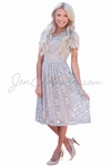 """""""Annabelle"""" Modest Dress in Gray Lace w/Taupe Lining"""
