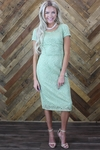 """""""April"""" Modest Dress in Sage Green Lace"""